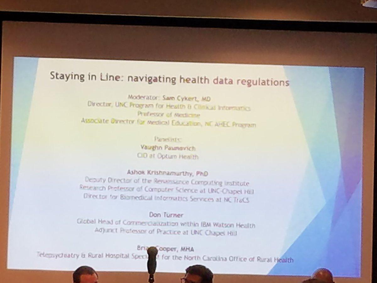 test Twitter Media - Great panel discussion today.   CIO @ Optum Health, Prof. & DIR Clinical IT @ UNC, Global Commercial Head @ IBM Watson Health, and Manager @ NC State Telehealth. Sponsored by https://t.co/wb7AbgroF1 Annual Symposium, Spring 2018. https://t.co/I4sJ6sSML6