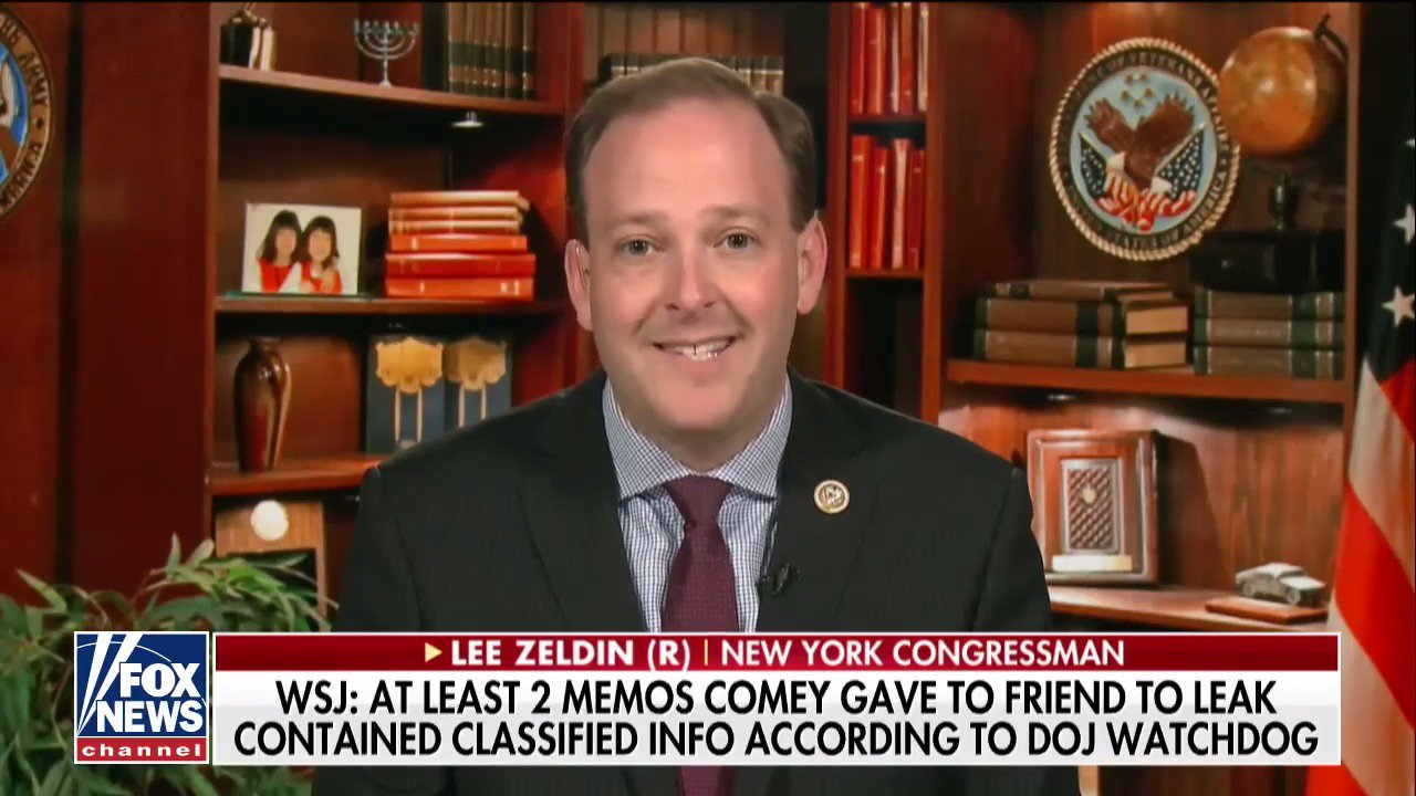 .@RepLeeZeldin: 'James Comey leaked classified information to the media.' #OutnumberedOT https://t.co/xOmGoD2uec