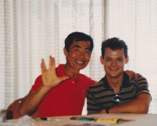Happy 81st birthday, George Takei!   (photo taken at Creation Con; Los Angeles, CA, summer, 1986)