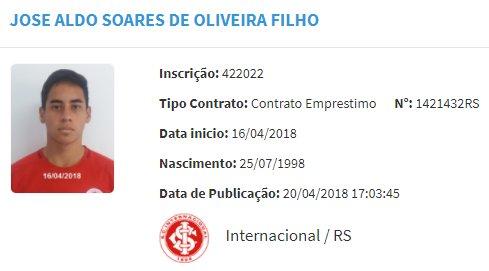RT @RededoFutebol: José Aldo, destaque da #CopaSP2018 pelo Palmeiras, foi registrado no BID pelo Internacional: https://t.co/HJ5fZsNY7U