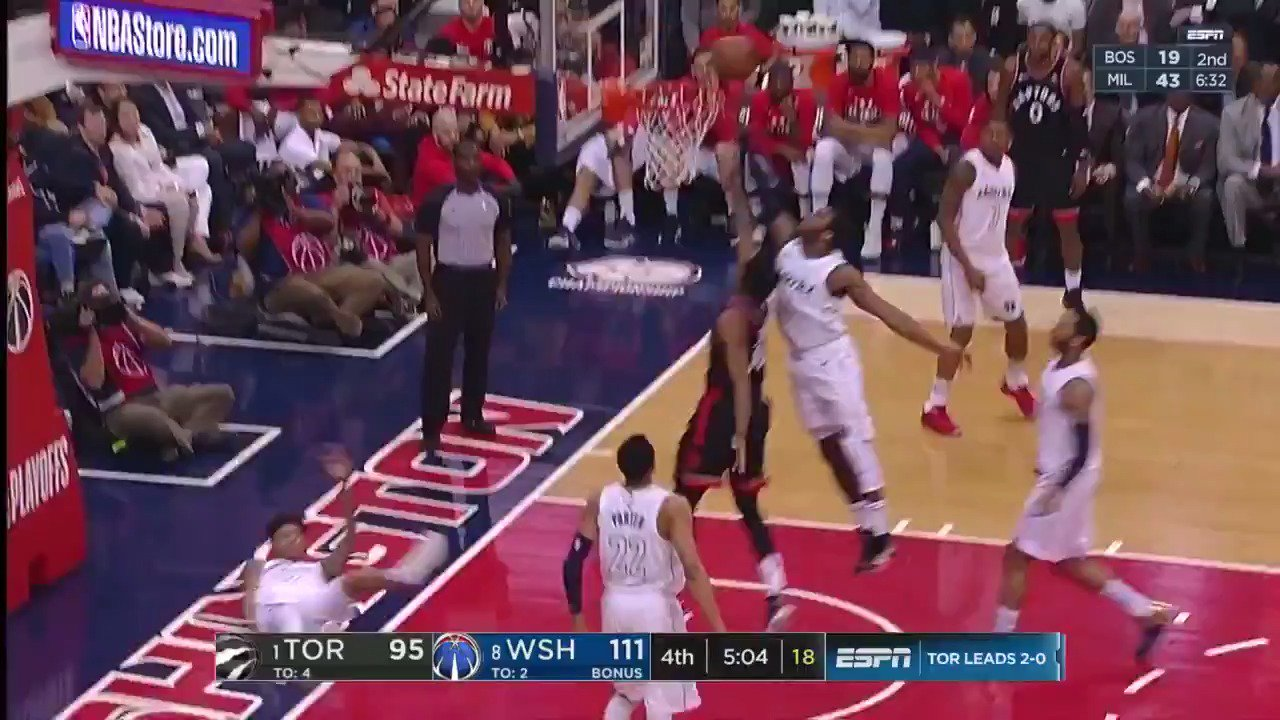 �� John Wall chases it down at the rim! ��  #DCFamily back up 18 in the 4th.   ��: ESPN2 https://t.co/57nPvVQbM8