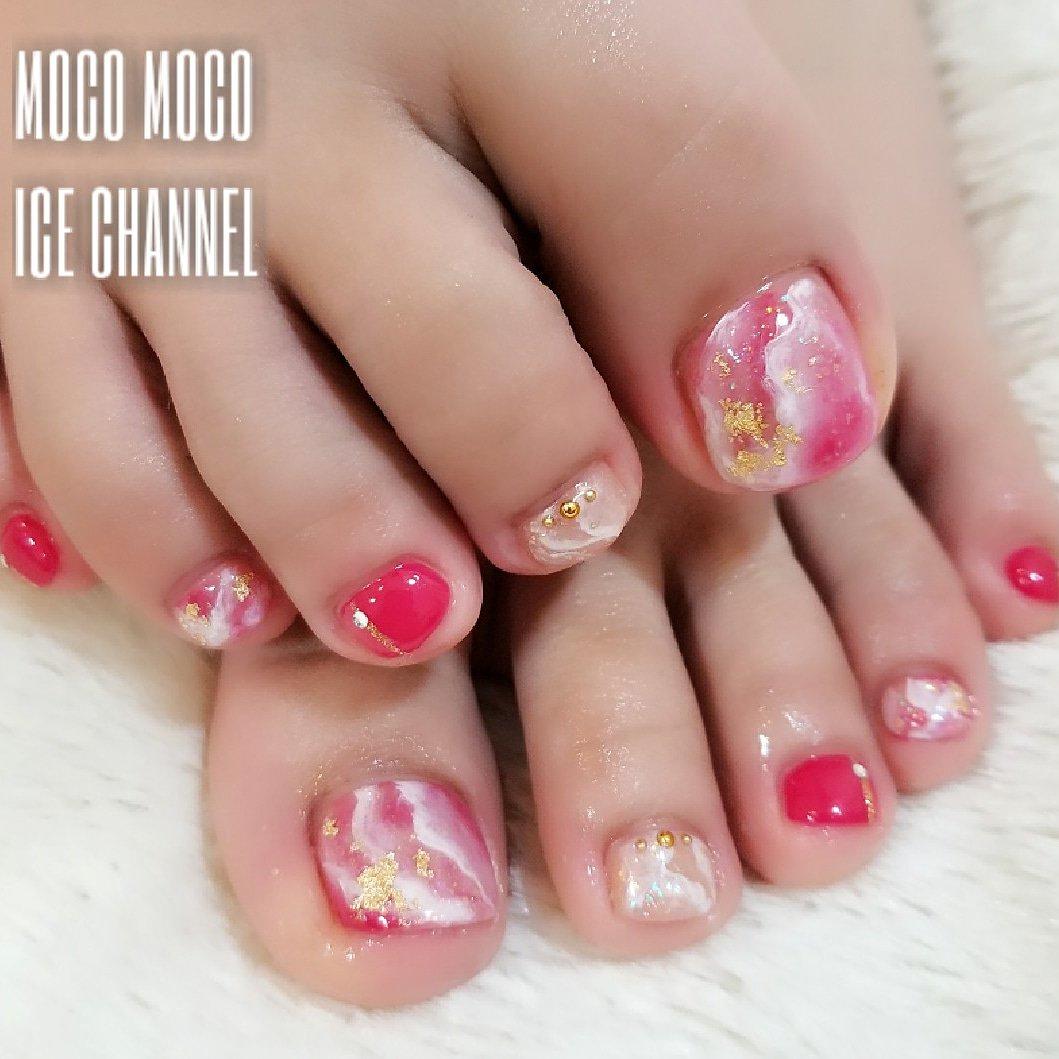 ネイル 夏 フット ピンク