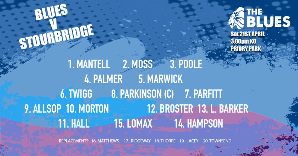 test Twitter Media - Here are your Blues for the visit of @stourbridgerugby on a lovely sunny day perfect for what is likely to be our final home game of the season and the last chance to see a few Blues legends at Priory Park! #macclesfield #backingmacc https://t.co/UtEXWNCVcj