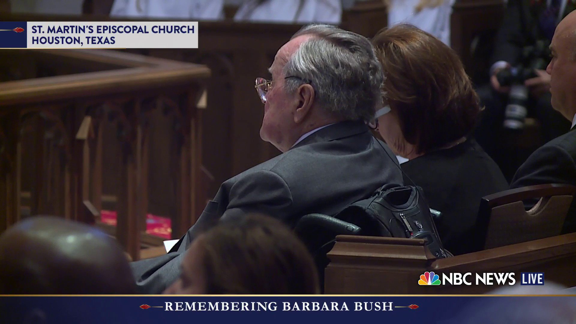 Former President George H.W. Bush sits in the first pew at the funeral for his wife of 73 years, Barbara Bush. https://t.co/5A0kgKU3I9