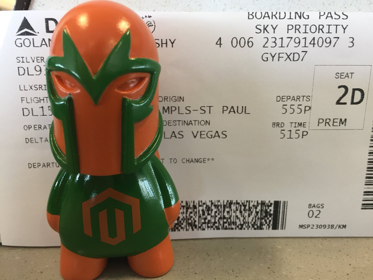 Vijaygolani: Wow they found @wagento 's Dev Fender and upgraded to First Class 😀 #MagentoImagine #roadtoimagine https://t.co/cMAE22b9RC
