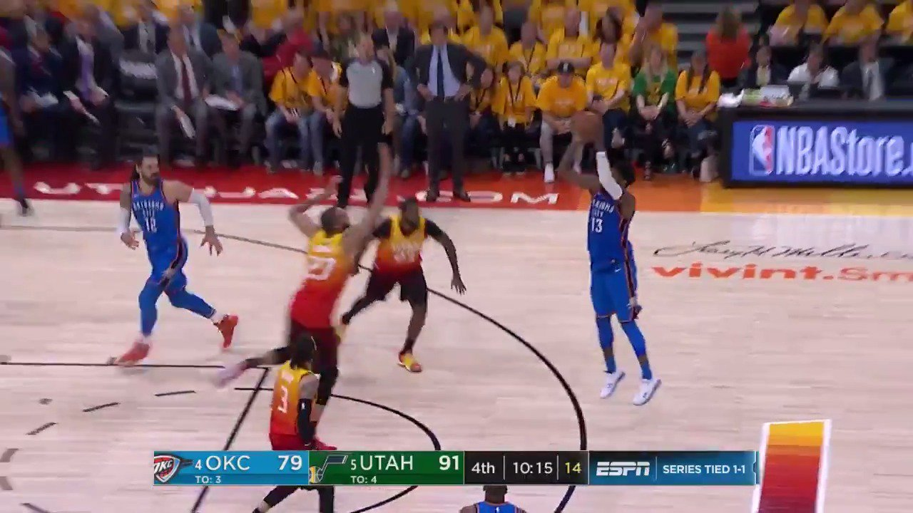 Quick 5 for Paul George to start the 4th!  @okcthunder answers to make it a seven point game.  #ThunderUp @ESPNNBA https://t.co/LI4L5WNzZd