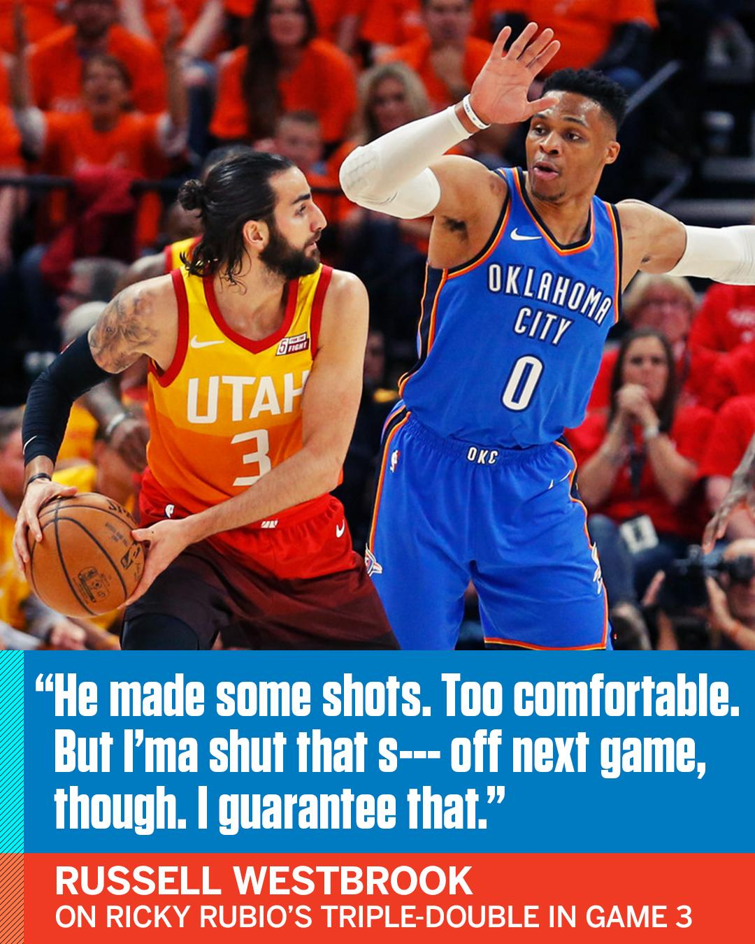 Russell Westbrook is on to Ricky Rubio. https://t.co/YpWYEt8s3x