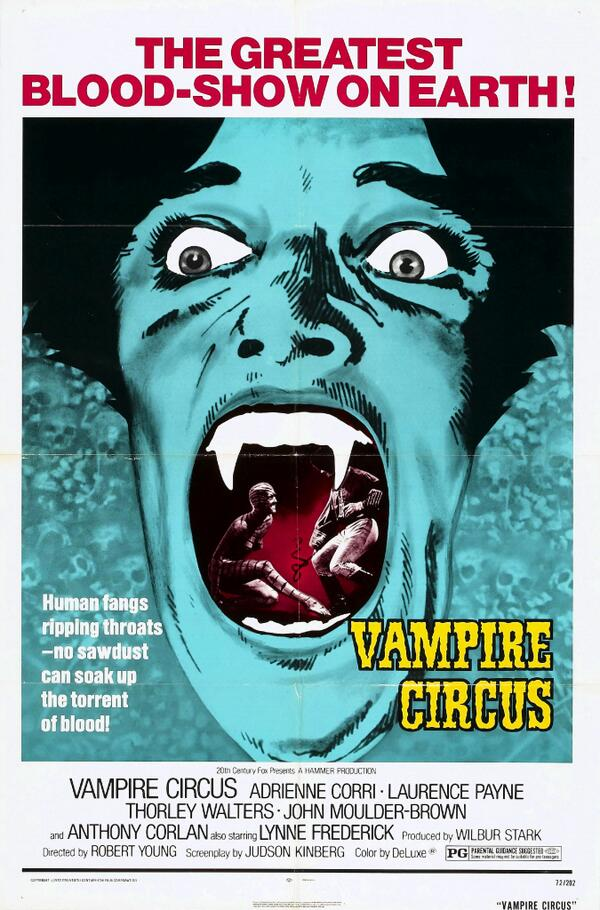 RT @Dr_Giallo: VAMPIRE CIRCUS (1972) #horror #poster – Dr.Giallo #vampire hours https://t.co/T7LxURZ8zs