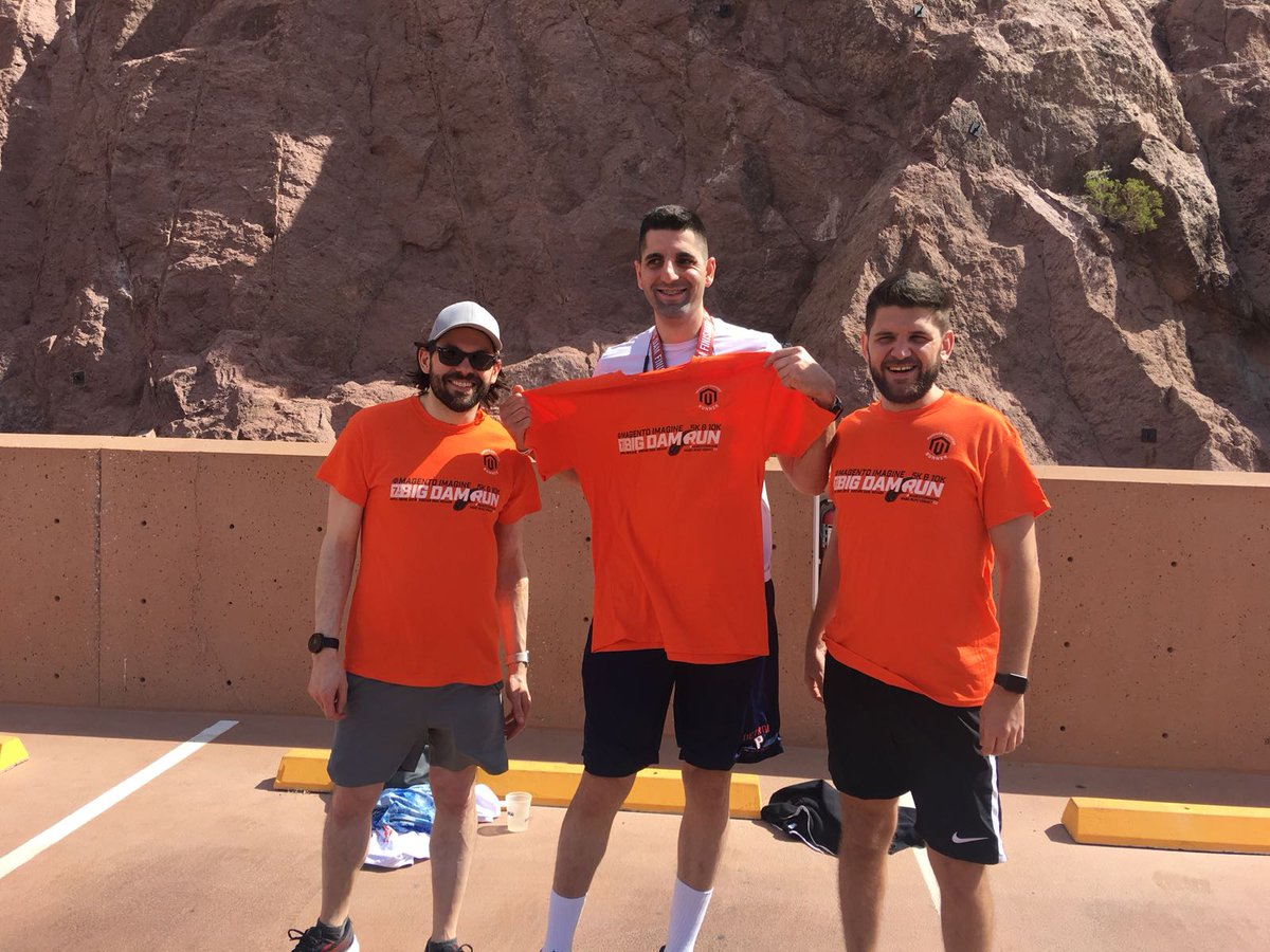 nexcess: @mbalparda, @ibnwadie and Chris representing Necess at the #BigDamRun. #MagentoImagine off to a sprinting start! https://t.co/mhrvpdM5ZN