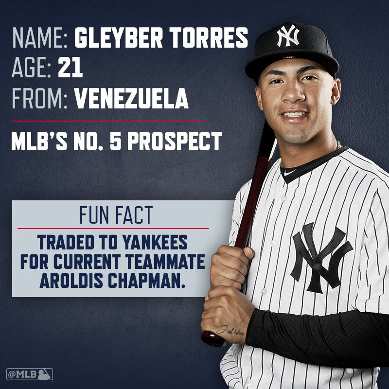 It's Torres time.     The @Yankees top prospect will bat 8th and play 2B on Sunday. https://t.co/YugbyBN9lp