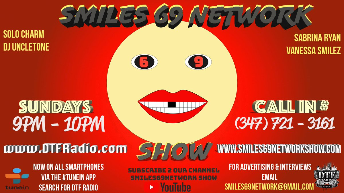 Starts in 5 mins ... #Smiles69Network show #dtfradio