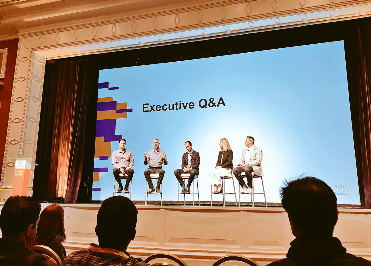 vaimoglobal: #MagentoImagine @magento executive team is now on stage for a Q&A session https://t.co/j9URxCJ5PV