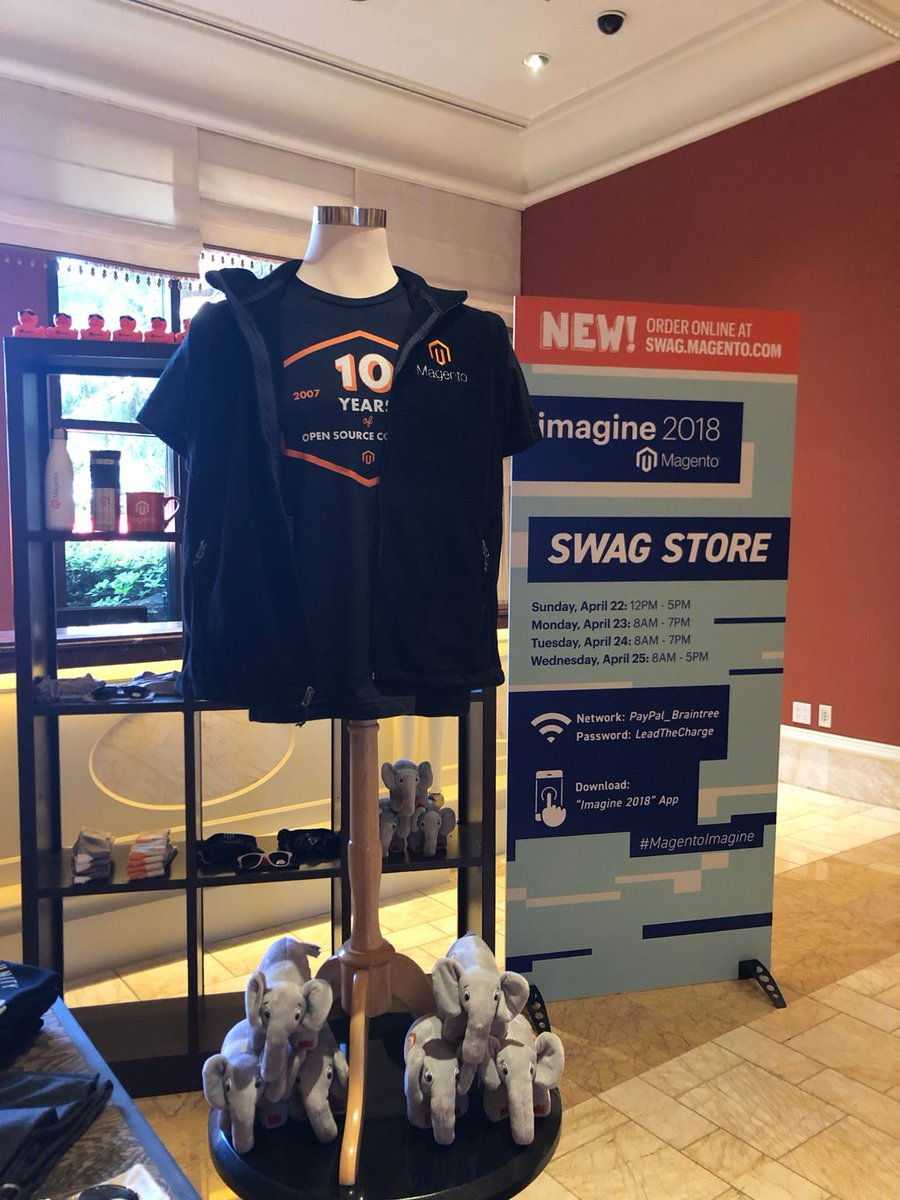 magento: Show your Magento pride and gear up at the Swag Store. Now open at Registration 2. #magentoimagine https://t.co/YjzIJI4EaO