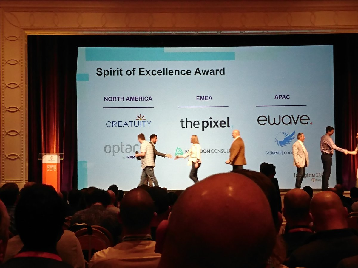 richbaik: Congrats to all the Spirit of Excellence award winners! #MagentoImagine  @Creatuity https://t.co/JIofjec85G