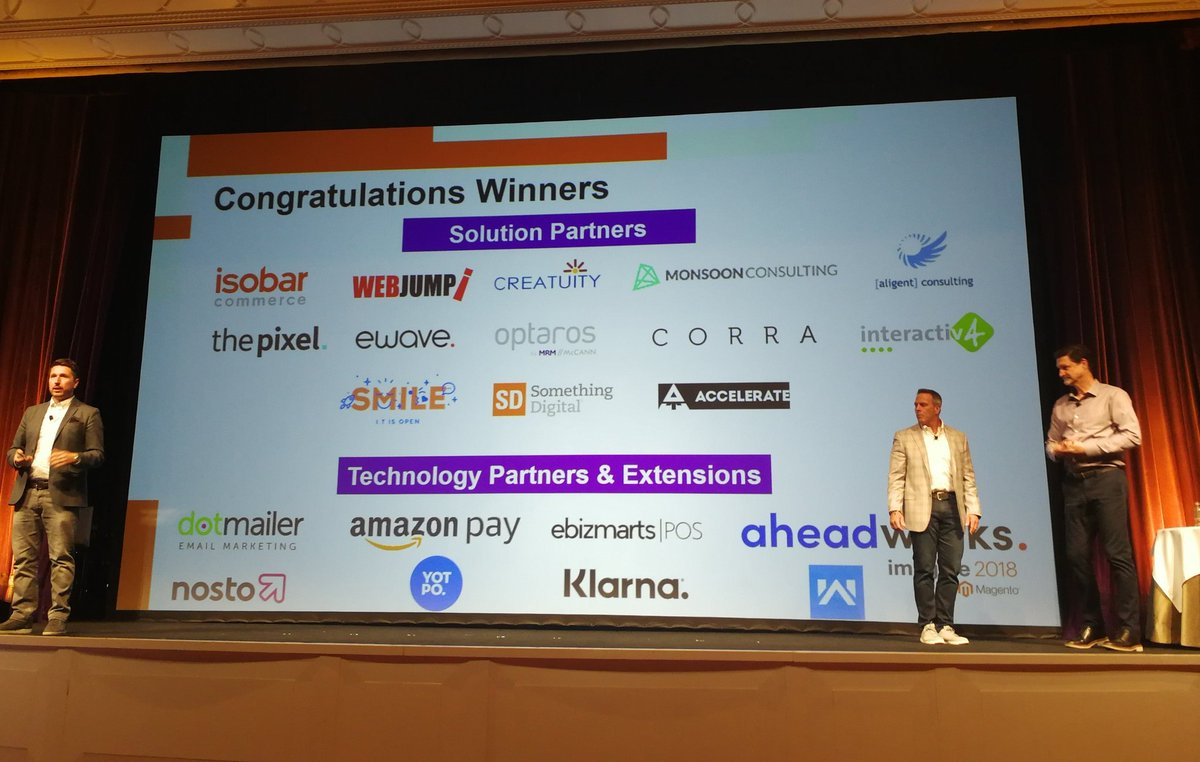 samjohnelliott: Congratulations to all the partner winners at #MagentoImagine https://t.co/0rdPW2Dhdd