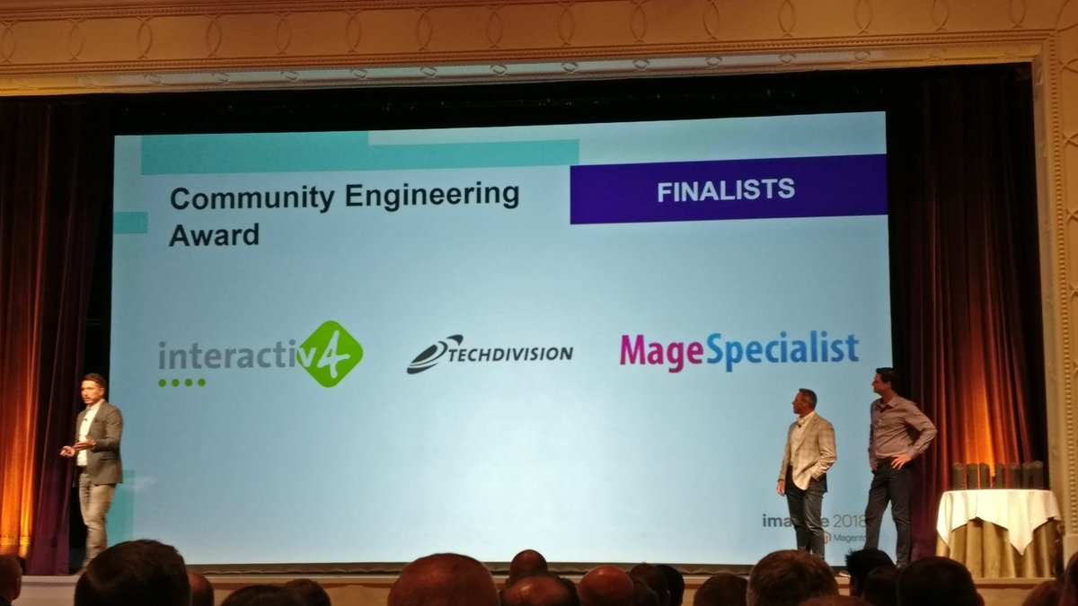 RicTempesta: Wow! @magespecialist as finalist for the community engineering award! #MagentoImagine #Magento2 . https://t.co/577tT67y8s