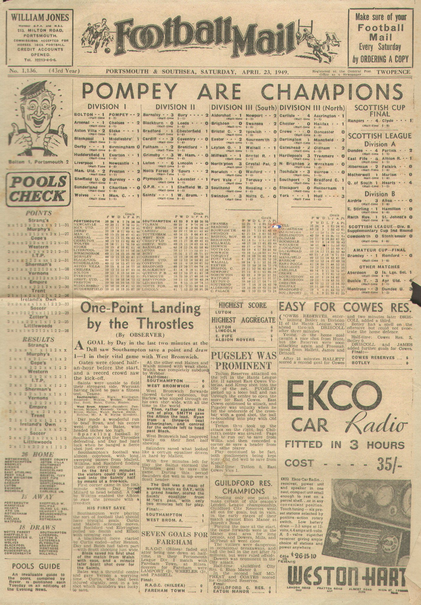 Happy St George's Day everyone. It was #OTD in 1949 that #Pompey first became CHAMPIONS OF ENGLAND with a 2-1 win against Bolton Wanderers at Burnden Park. #PompeyHistory [Thread] https://t.co/mtDUKsMz4N