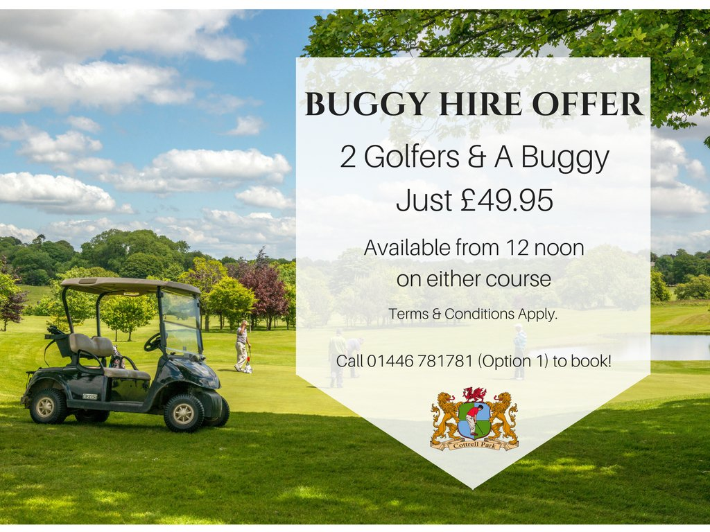 test Twitter Media - B U G G Y   D E A L!   We still have our Buggy Hire Offer available with the weather as sunny as ever 🌞 JUST £49.95 FOR 2 GOLFERS AND A BUGGY! Ring now on 01446 781781 (Option 1) T&C's Apply. Available after 12 noon https://t.co/cUZmGdhdlV