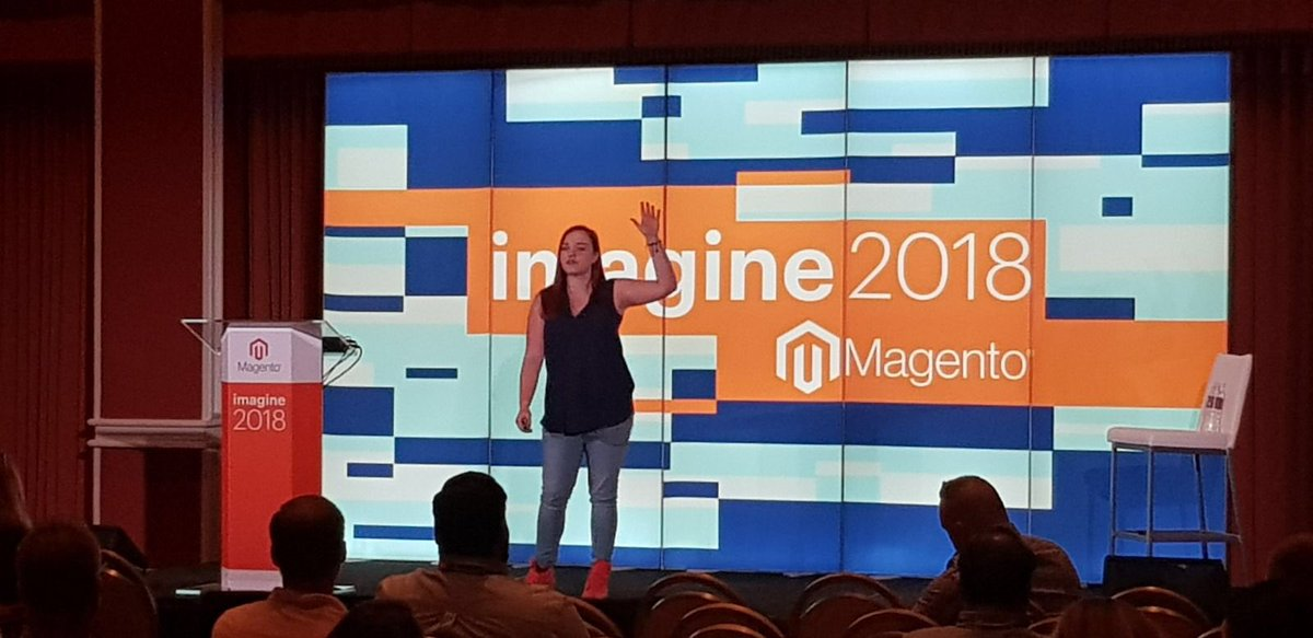 RabiaQr: My wonderful colleague @RebeccaBrocton crushing it at #MagentoImagine2018 #MagentoImagine @wearejh https://t.co/q89BwHyTOY