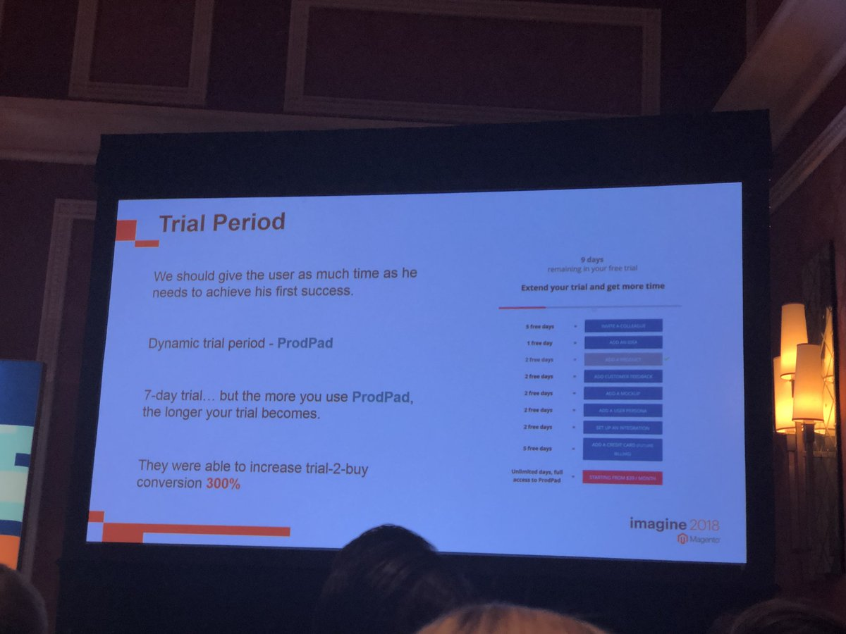 danielalbro: Dynamic trial period. There's a bit of genious in this concept from @ProdPad #B2B #ecommerce #MagentoImagine https://t.co/gtW5hXtztD