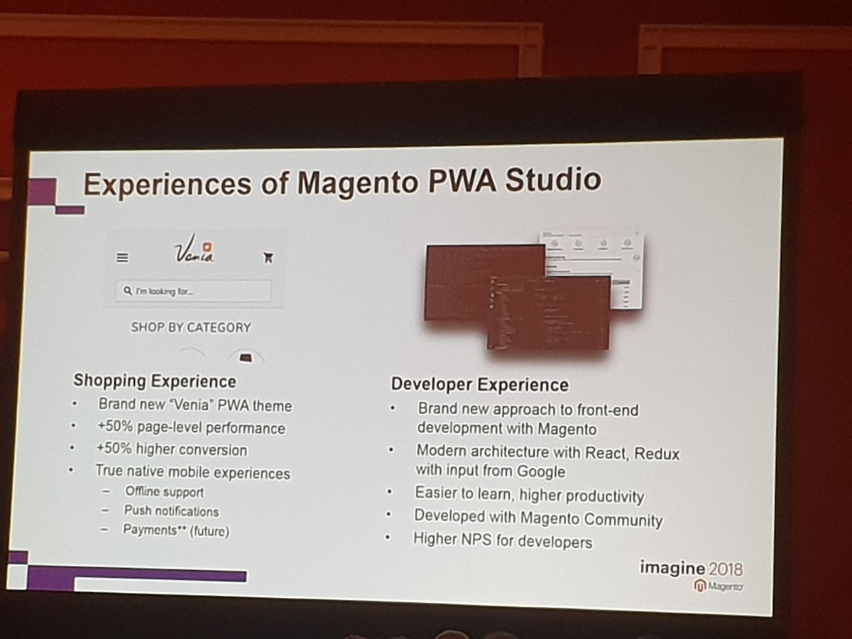 _chris_bauer: @Magento #PWA Studio will both improve shopping and developer experience #MagentoImagine https://t.co/65HkzE3zbE