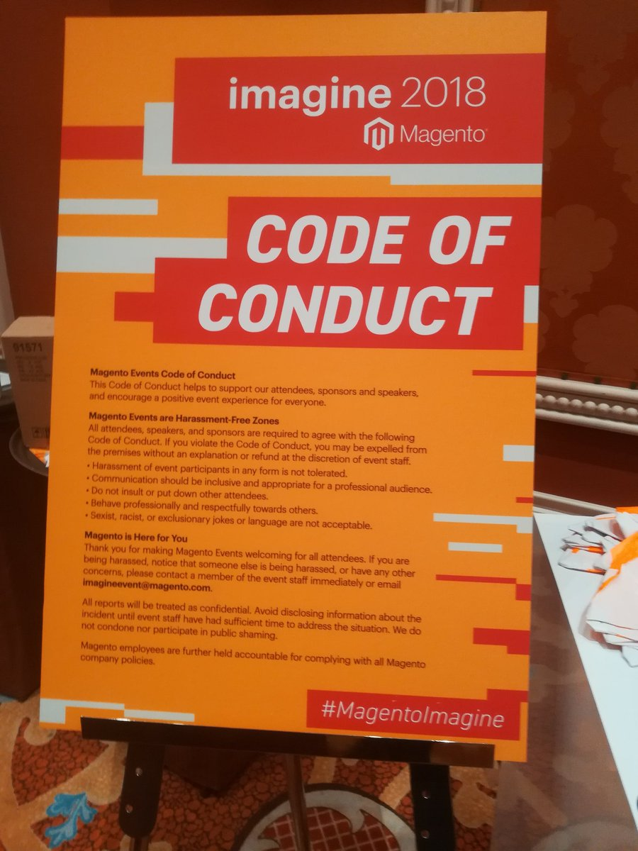 mannersd: Great to see the code of conduct at #MagentoImagine https://t.co/NoM6EQ5KC1