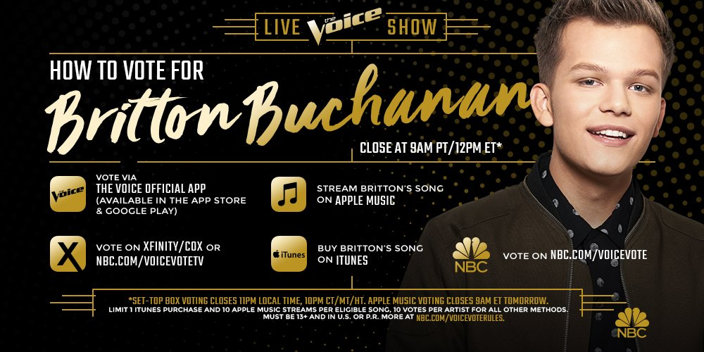 RT @NBCTheVoice: RETWEET IF YOU THINK @BrittonBuchanan is THE VOICE! #VoiceFinale https://t.co/JikHfRlVI5