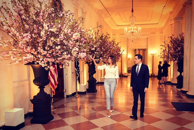 Spent yesterday with my team checking on the final details of our first State Dinner with France. https://t.co/vHoQ1rTA3s