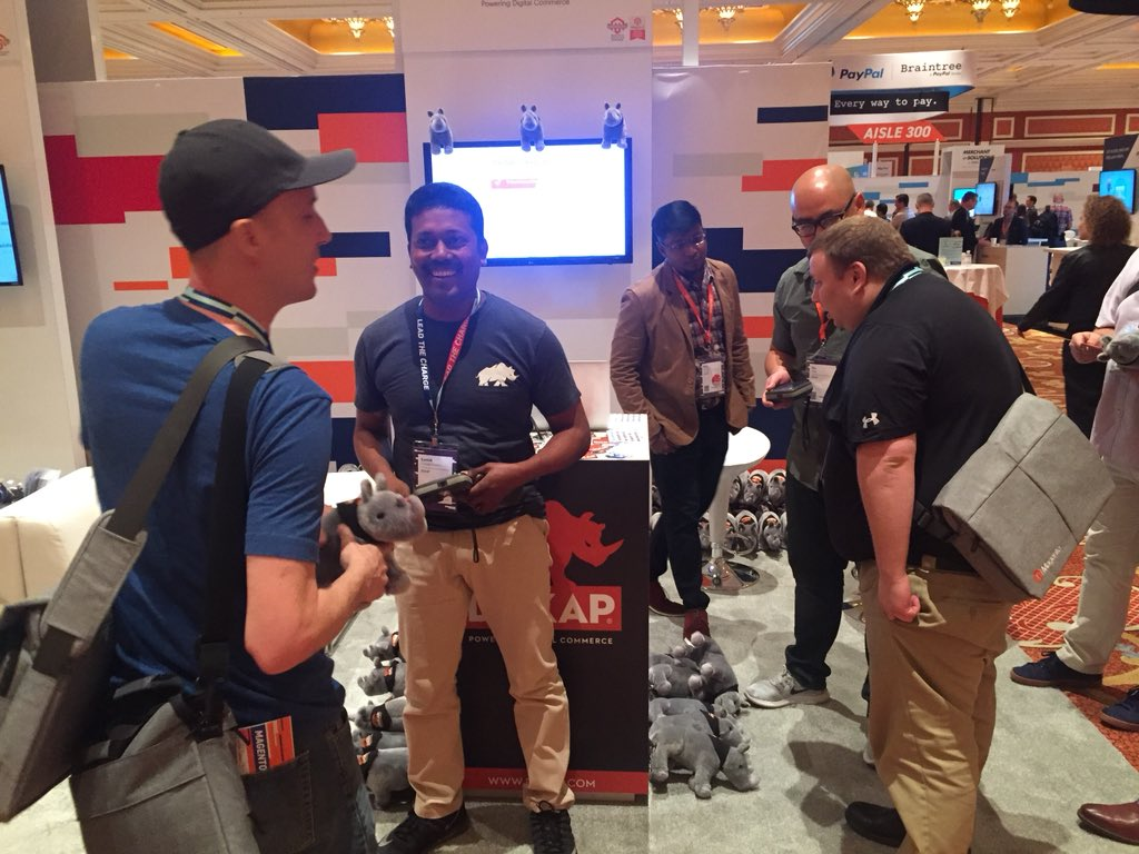 DCKAP: Come say hello to our @DCKAP Team and have a discussion and play with our Rhino too @magento Imagine #MagentoImagine https://t.co/NZMQd6iqI8