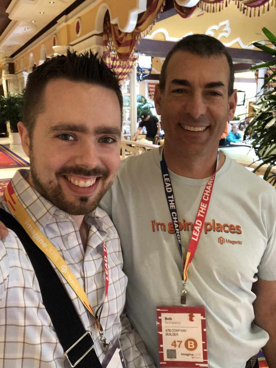 josephmaxs: @BobSchwartz wearing an original #MagentoImagine shirt. Honored to meet such a legend in person. https://t.co/mfpQhTIrY0