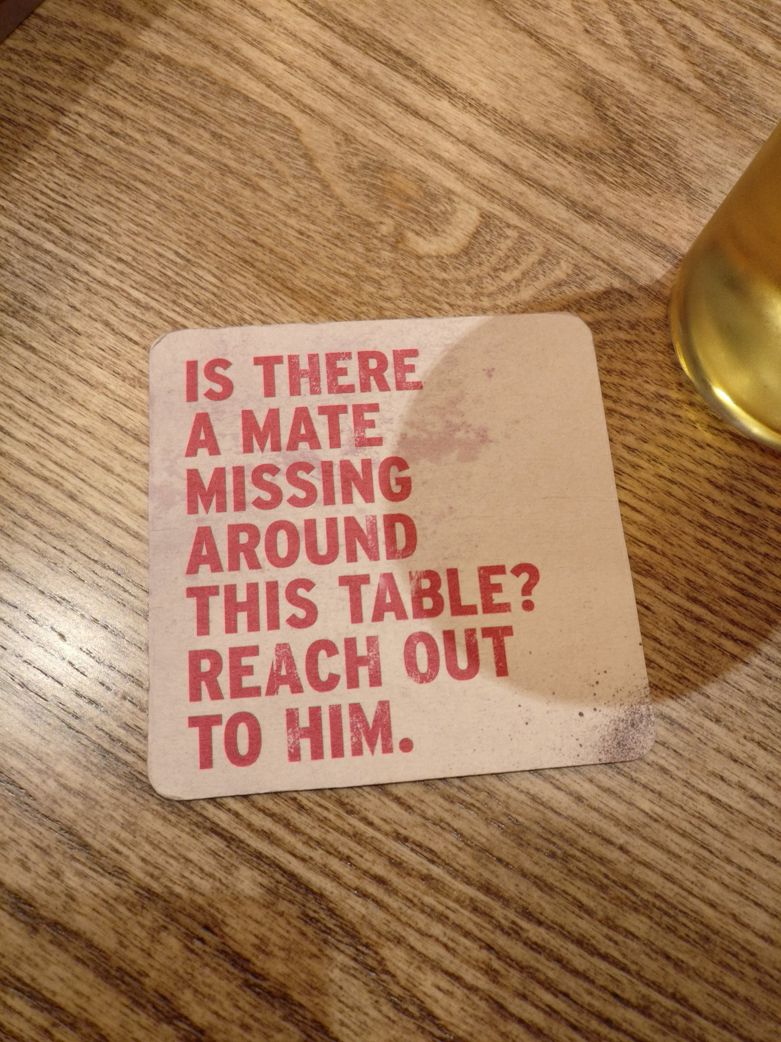 These beer mats are SO needed. Suicide is the leading cause of death for men under 49, killing three times as many British men as women. It's time to talk about men's mental health!! https://t.co/G43g56whyY