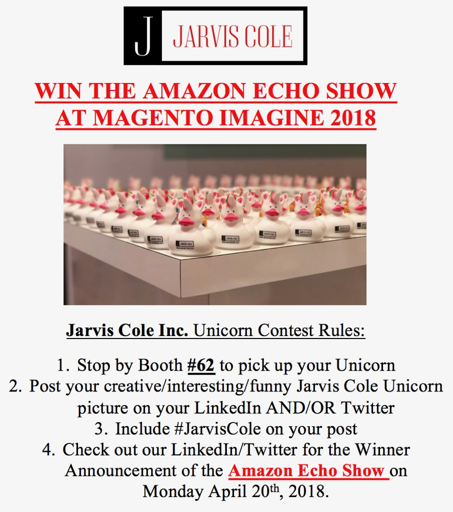 JarvisColeInc: Anyone at #MagentoImagine want to win an Amazon Echo Show? Come pick up your unicorn and find out how! Booth #62 https://t.co/KDS3P40oDK