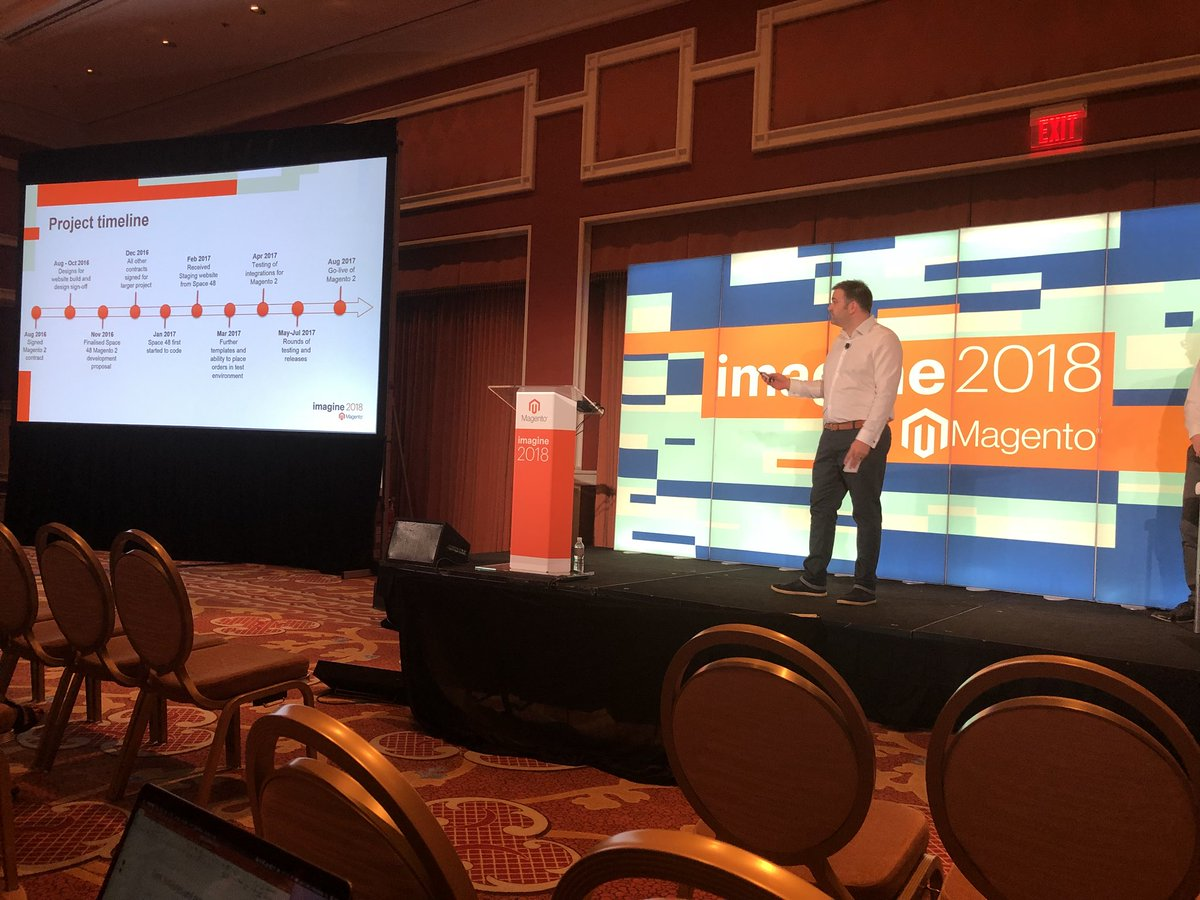Space48ers: @Jakob_smith presenting with @coxandcoxuk Aynsley Pete on migrating from Magento 1.7 to Magento 2 #MagentoImagine https://t.co/wwAi6jo60o