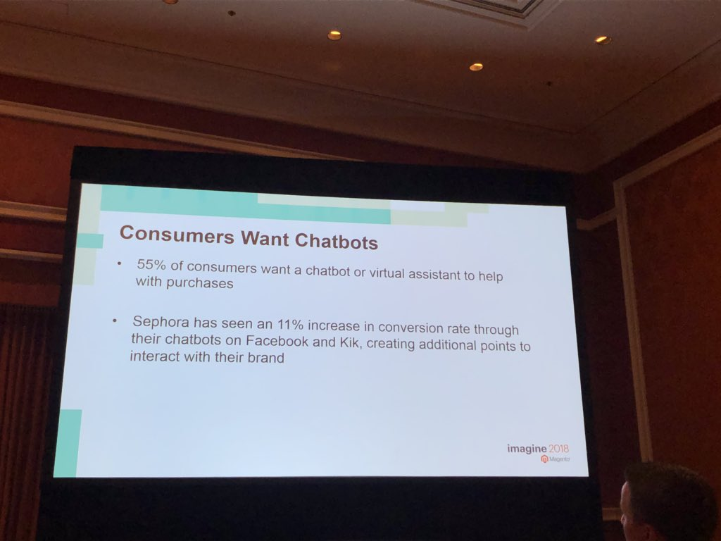 merithansmitt: Today's innovations are tomorrow's standard: #chatbots and #voicecommerce on the rise ⬆️ #MagentoImagine https://t.co/FN8b91Pa9h