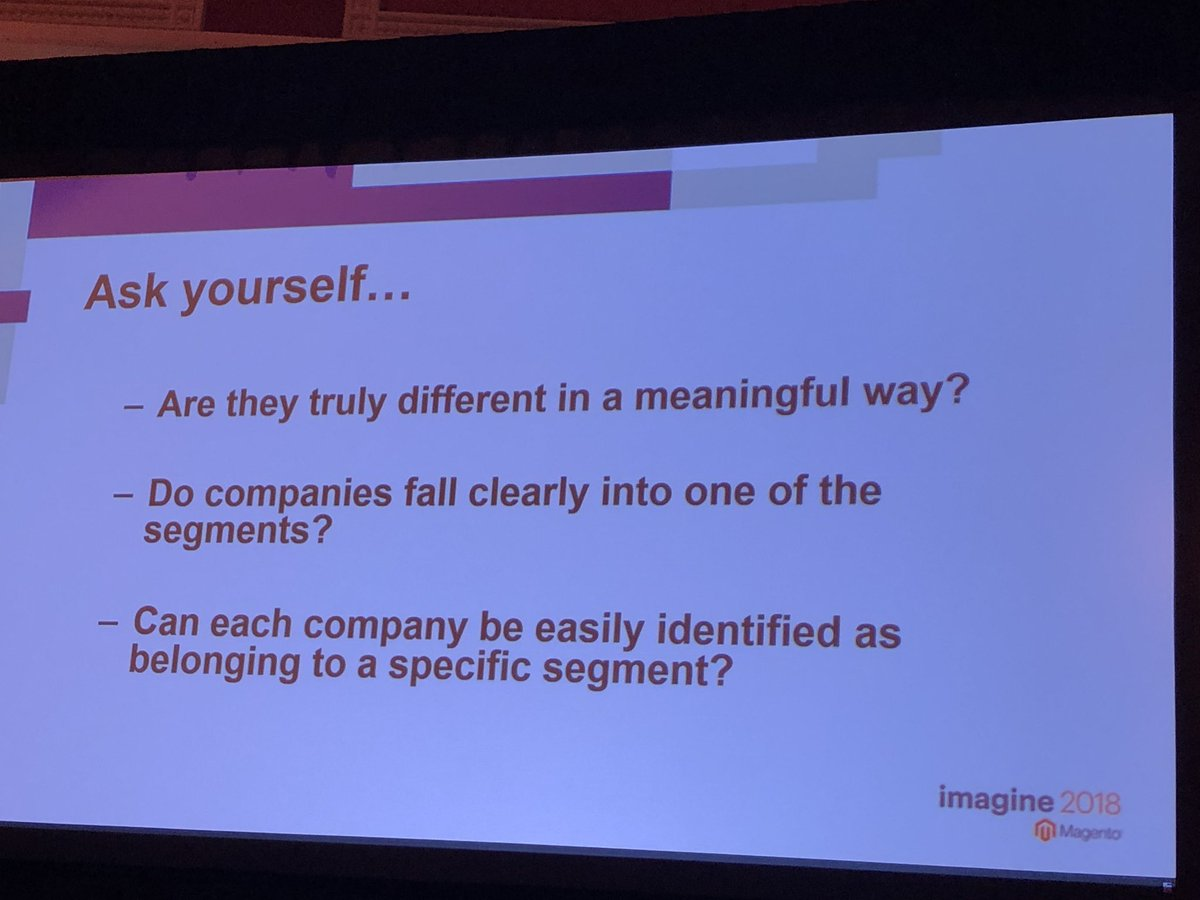 blueacorn: Helpful hints from @chrisjguerra  when segmenting for B2B users: #MagentoImagine https://t.co/Pkt3EhJVG6