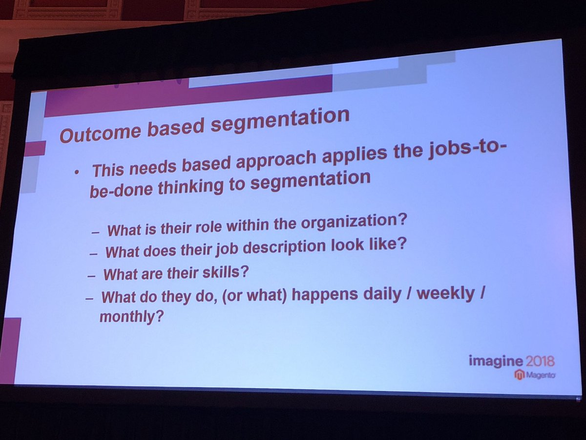 blueacorn: Use Outcome Based Segmentation to further define key segments of B2B users #MagentoImagine https://t.co/9RVLekAC8X
