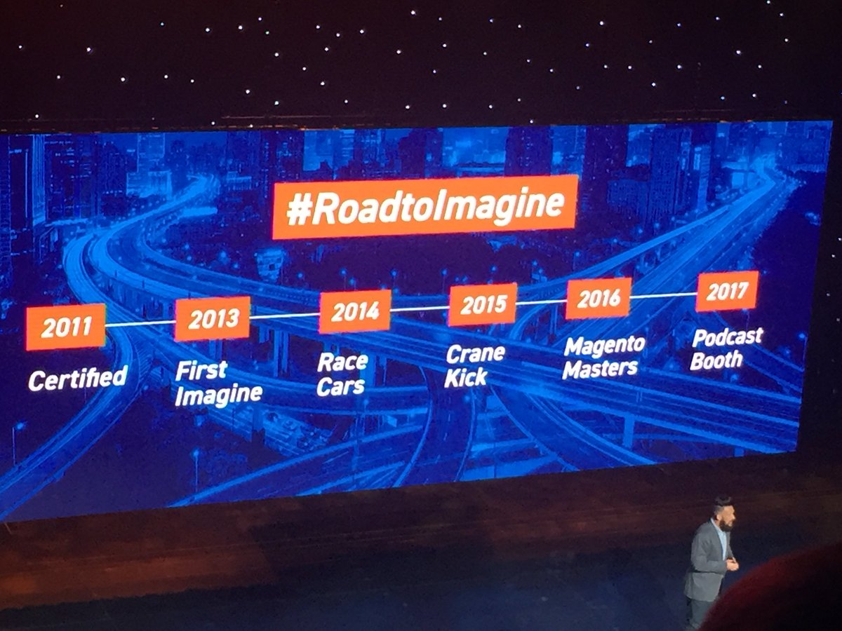 DCKAP: @philwinkle sharing his #RoadToImagine at @magento Imagine General session #MagentoImagine https://t.co/nNWmtPTKWq