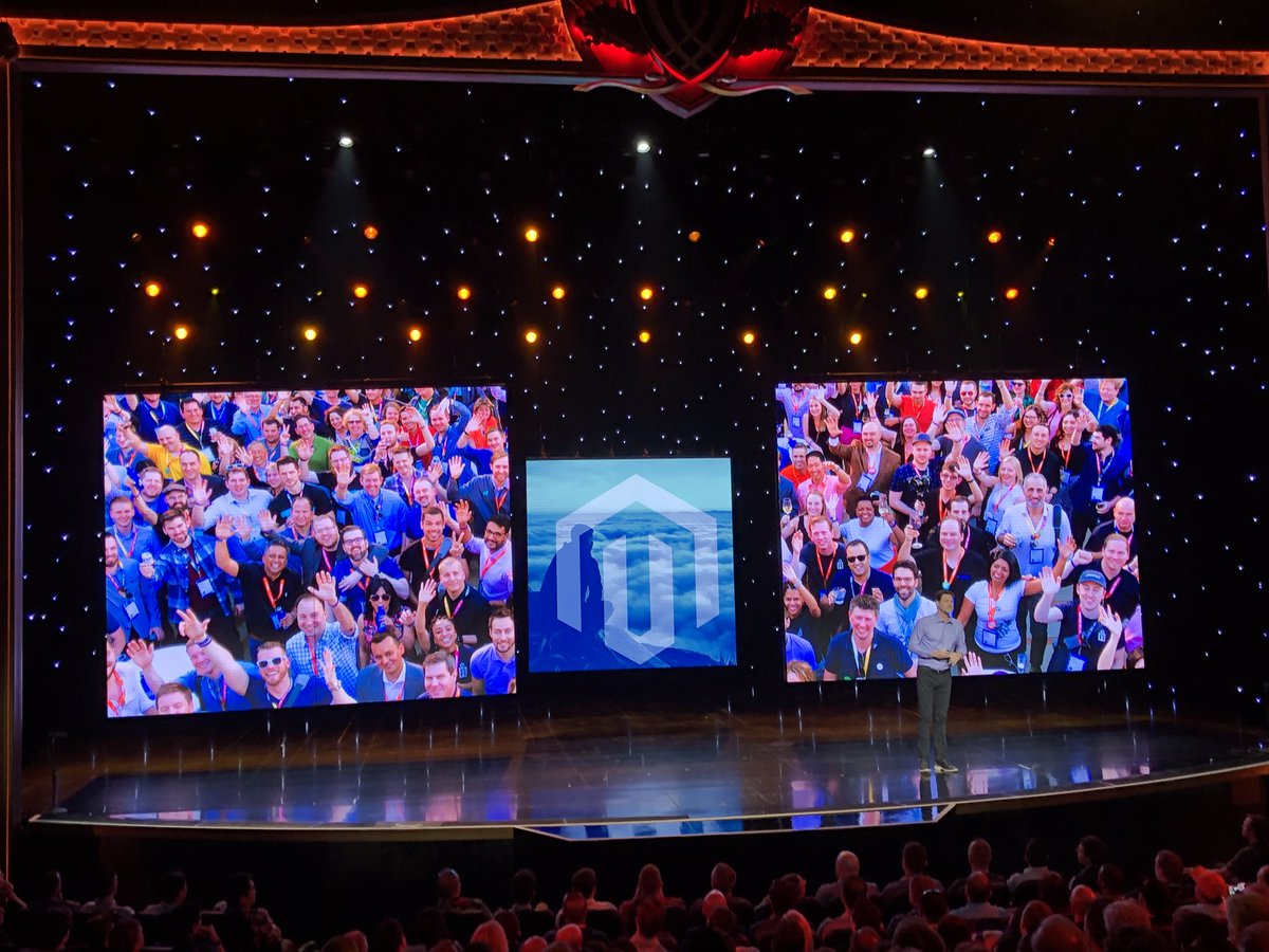 wearejh: Hey look we're in the keynote! Fantastic community shot #MagentoImagine https://t.co/nop3ufNKNe