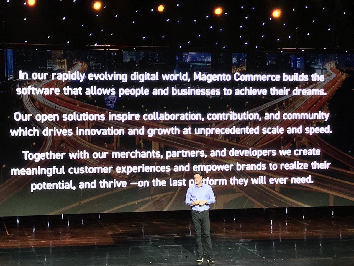 brentwpeterson: The @Magento mission statement @mklave1 #MagentoImagine https://t.co/wSShcdEADZ