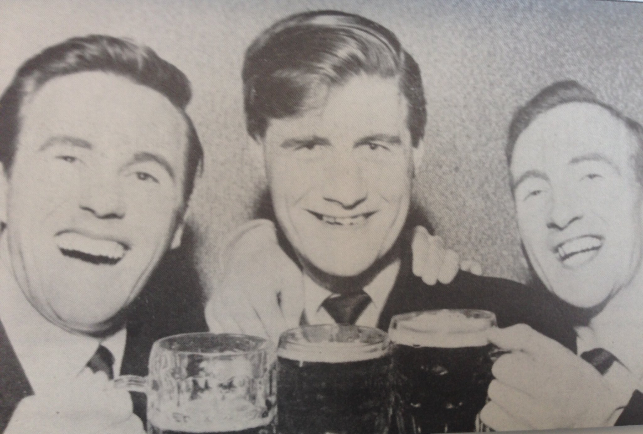Cheers! Jimmy Dickinson toasts #Pompey's great escape with Johnny Gordon (left) and Alex Wilson (right). #PompeyHistory https://t.co/ERvxqHQQ2P