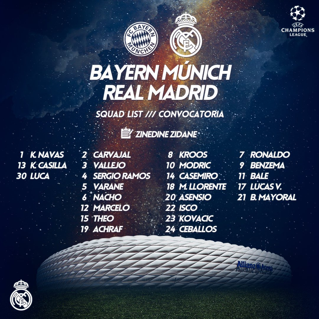 �� Zidane has called up the whole squad for our trip to Munich! #APorLa13 https://t.co/2SVthN0gGJ