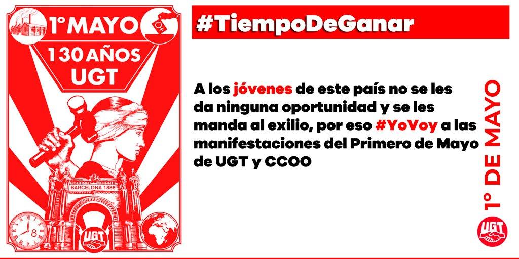 RT @UGT_Comunica: 1º de Mayo #TiempodeGanar https://t.co/jroQKaSOTh