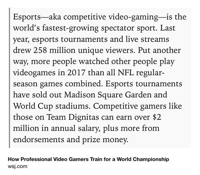 @ScottMonty: RT @mims: Esports are now bigger than the NFL, by viewership https://t.co/2NEFCqR1eq https://t.co/bgjorXKg8j