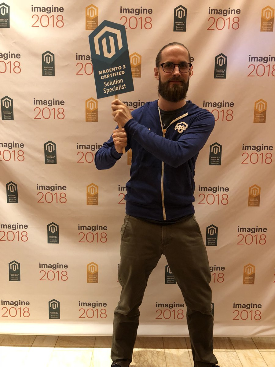 MagentoU: Congrats to Fabian Schmengler on passing your M2 Solution Specialist exam! #MagentoImagine @fschmengler https://t.co/f5WR95i95m