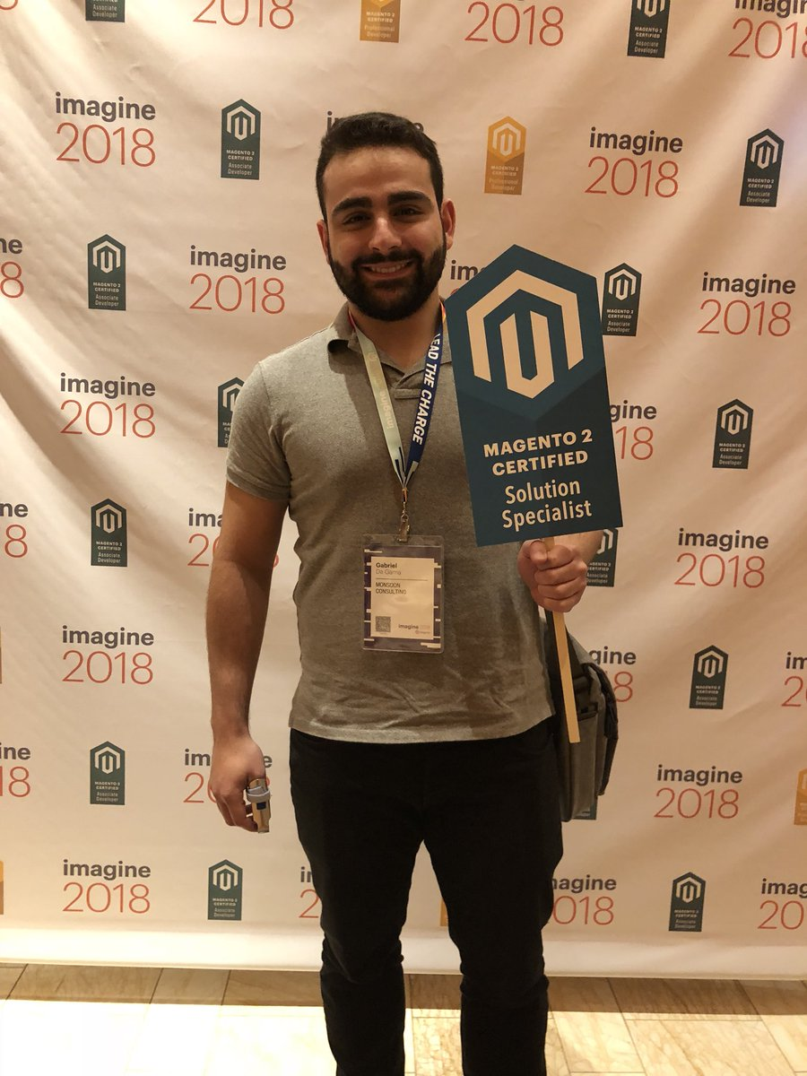 MagentoU: Congrats to Gabriel Da Gama on passing your M2 Solution Specialist exam! #MagentoImagine @monsoonconsult https://t.co/b3PdashbeH