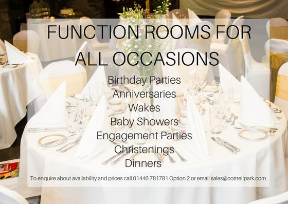 test Twitter Media - Looking for a function room for a Celebration? . . . . . . .  At Cottrell Park we cater for every type of function you can think of!  . . . . . . .  Call/ Email today to enquire about prices and Menus  01446 781 781 Option2 - sales@cottrellpark.com https://t.co/Us7Jrb8UwB