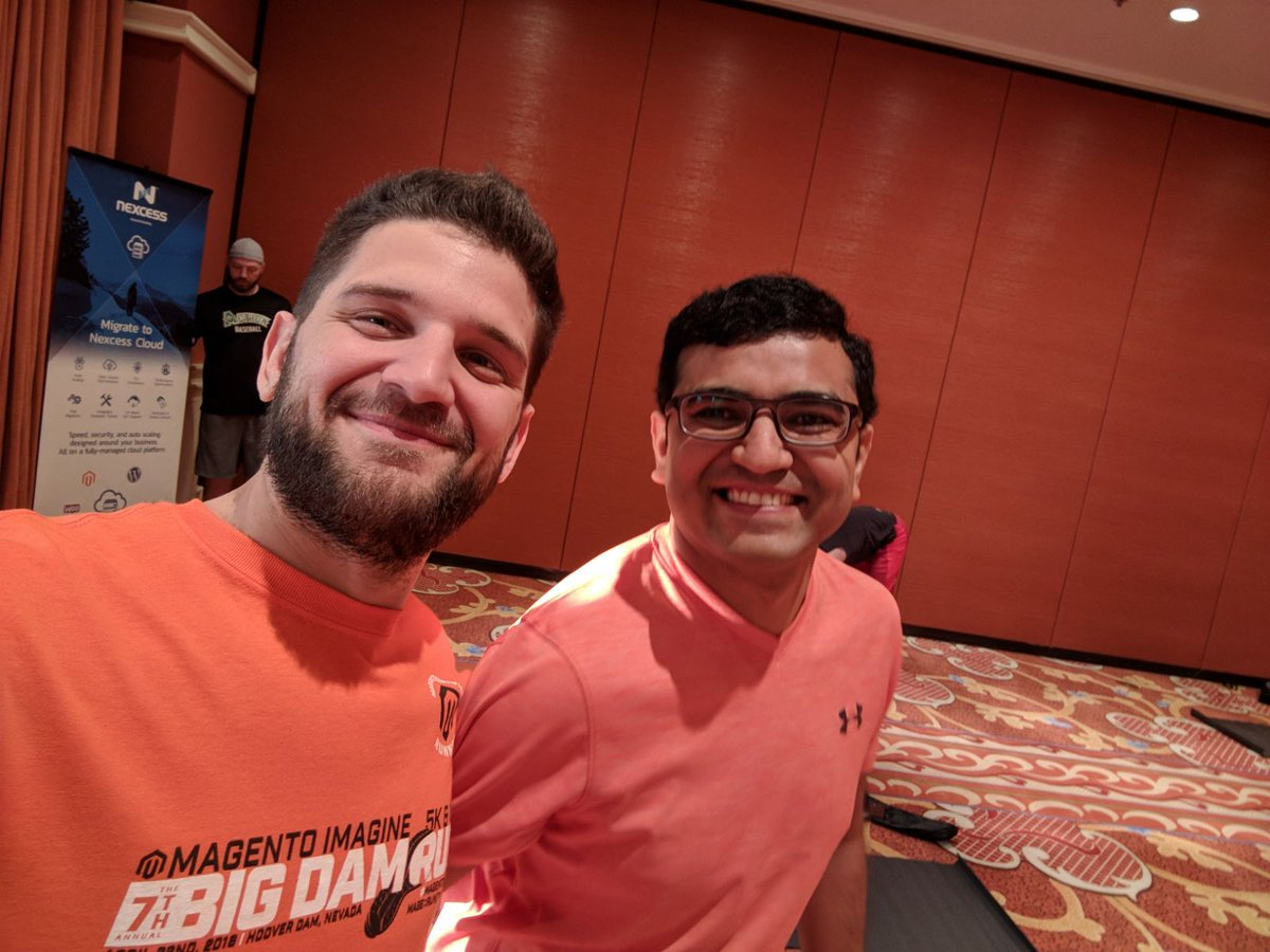 nexcess: Miguel and @Vijaygolani at Mage Yoga. A great way to start the morning at #MagentoImagine https://t.co/sMFhe4hKW0