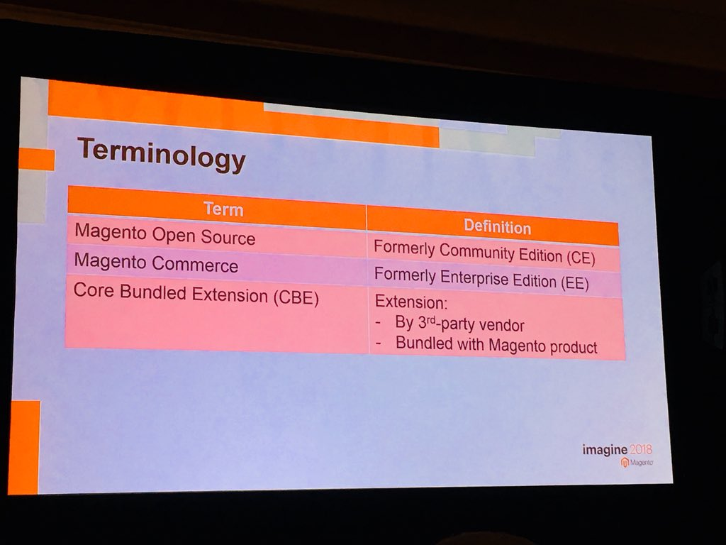 natashagreeny: Important info folks! New terminology for @magento @buskamuza kick starting the M2.3 session #MagentoImagine https://t.co/J3u9QNWgfS