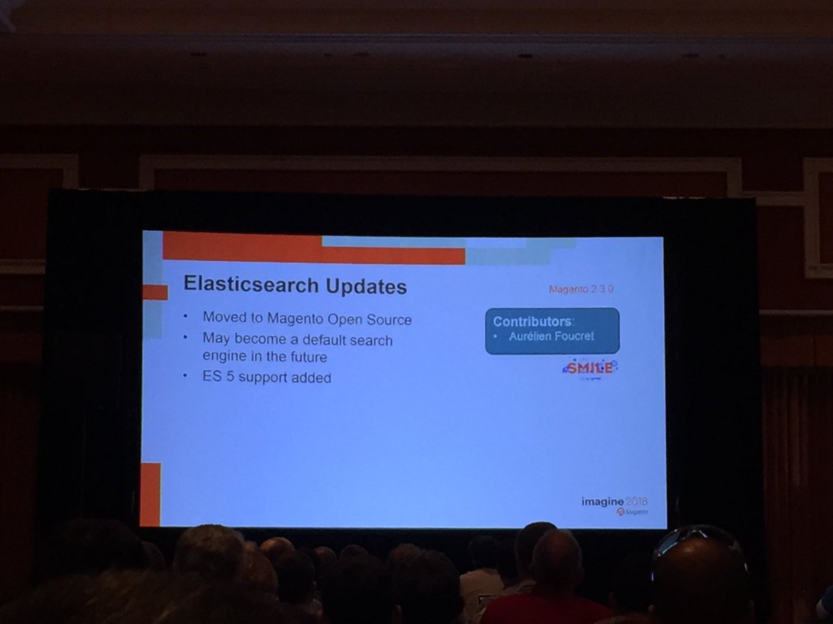 vrann: Elasticsearch 5 support in #magento open source, contributed by @GroupeSmile @buskamuza #MagentoImagine https://t.co/hrmx0jjmV3