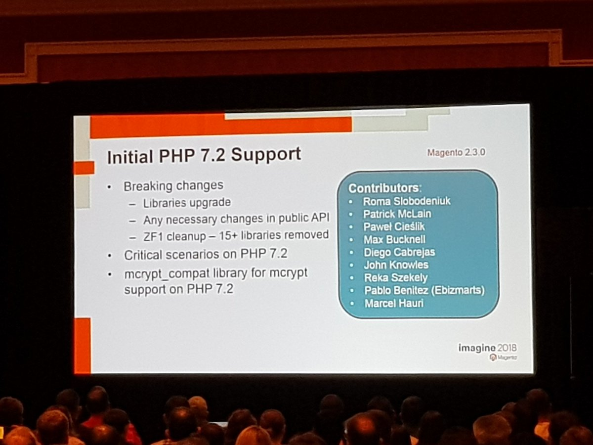mgeoffray: Magento 2.3 will support PHP 7.2 #MagentoImagine #MagentoImagine2018 #Imagine2018 #Magento https://t.co/zFmcdgWi6V